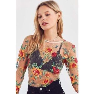 Ecote embroidered floral mesh top